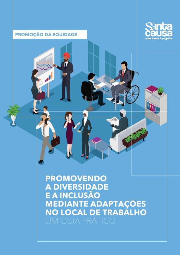 Capa do Livro Prmovendo a diversidade e a inclusão mediante adaptações no local de trabalho. Ilustração que representa a diversidade em um escritório.