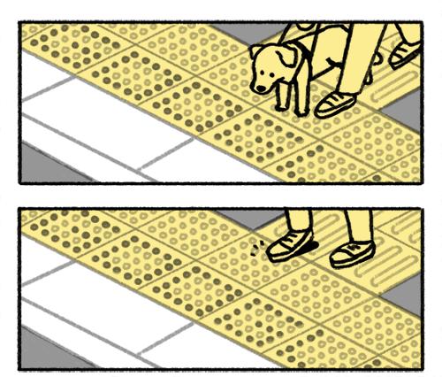 dois desenhos que representam a utilização do piso tátil direcional, no primeiro o usuário está com o cão-guia e no segundo destaque para os pés sobre o piso.